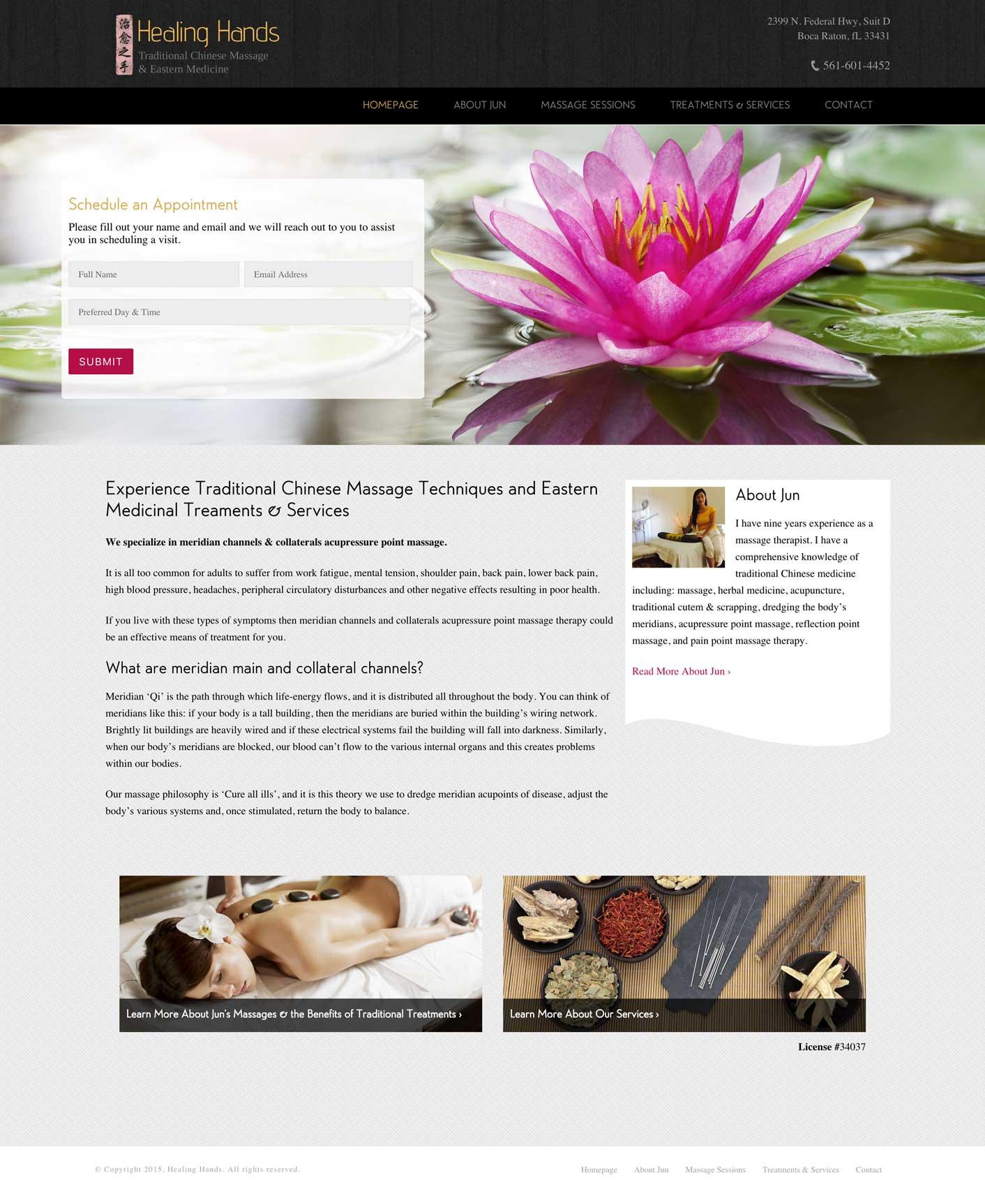 Healing Hands Homepage Design