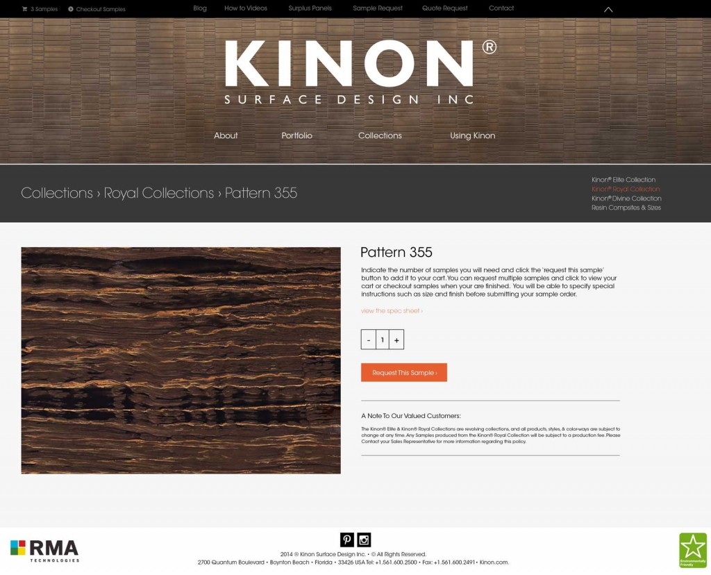 Kinon Product Page design