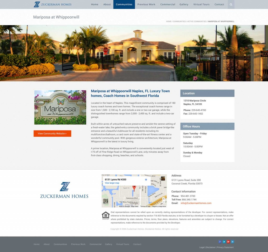 Zuckerman Homes Communities Page Design